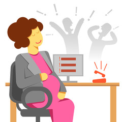 pregnant woman office stress