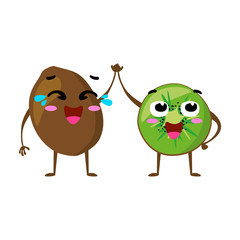 Kiwi. Cute fruit vector character couple isolated on white background. Funny emoticons faces. Vector illustration. Vector clip art.