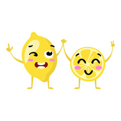 Lemon. Cute fruit vector character couple isolated on white background. Funny emoticons faces. Vector illustration. Vector clip art.