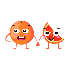 Grapefruit. Cute fruit vector character couple isolated on white background. Funny emoticons faces. Vector illustration. Vector clip art.