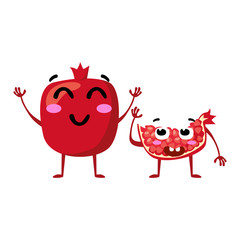 Garnet. Cute fruit vector character couple isolated on white background. Funny emoticons faces. Vector illustration. Vector clip art.