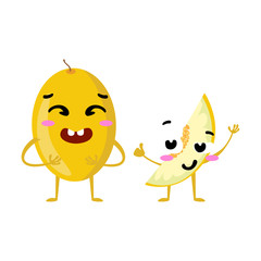 Melon. Cute fruit vector character couple isolated on white background. Funny emoticons faces. Vector illustration. Vector clip art.