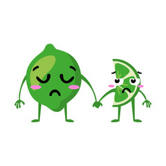 Lime. Cute fruit vector character couple isolated on white background. Funny emoticons faces. Vector illustration. Vector clip art.