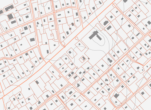 Fictional plan a residential area of private housing. Urban planning illustration, сity map background