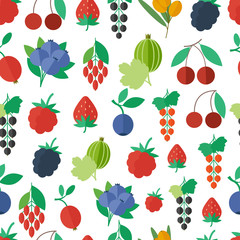 Seamless pattern with fruits and berries. background