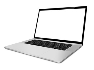 Laptop with blank screen angled view