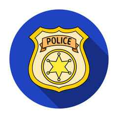 Police officer badge icon in flat style isolated on white background. Crime symbol stock vector illustration.