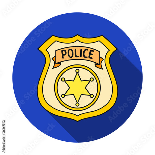 Police officer badge icon in flat style isolated on white background