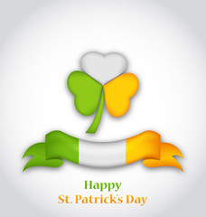 shamrock and ribbon in traditional Irish flag colors for St. Pat