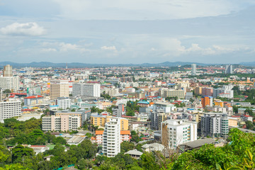 View of building and Pattaya beach at viewpoint Pratumnak Hill in Pattaya, Thailand.