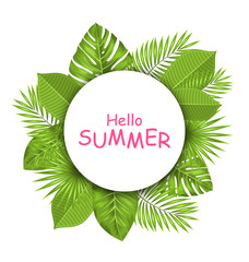 Summer Beautiful Card with Green Tropical Leaves for Design