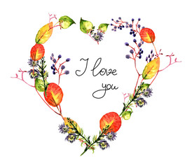 Autumn leaves, watercolor, greeting, heart, Valentine's Day