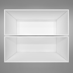 Empty white bookshelf. Grey background