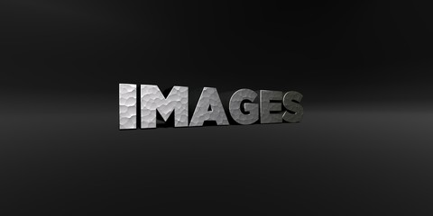 IMAGES - hammered metal finish text on black studio - 3D rendered royalty free stock photo. This image can be used for an online website banner ad or a print postcard.