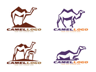 Brown and purple Camel abstract sharp logo vector design