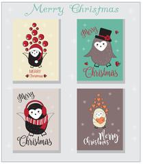 Cute penguin Christmas Cards set