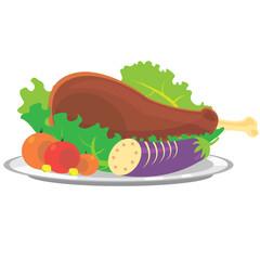 Roasted turkey vector illustration for Thanksgiving