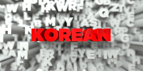 KOREAN -  Red text on typography background - 3D rendered royalty free stock image. This image can be used for an online website banner ad or a print postcard.