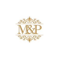 M&P Initial logo. Ornament gold