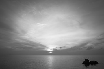 Sunrise over the sea,Tropical Beach with monochrome image