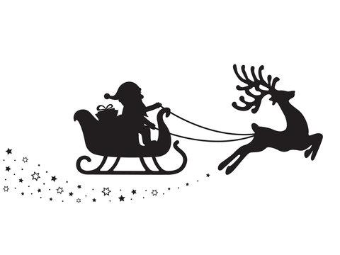 santa sleigh silhouette stars white background