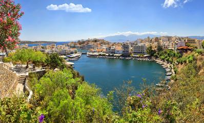 Panorama of Agios Nikolaos and Voulismeni lake in Crete island,