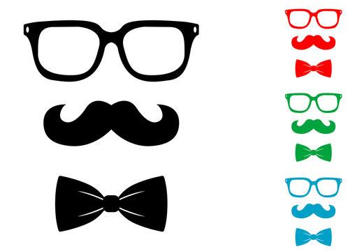 Icono plano bigote gafas y pajarita hipster varios colores