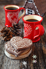 Two cup of coffee and gingerbread