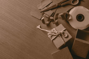 box and ribbon on wooden