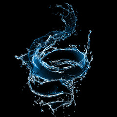 Printed kitchen splashbacks Water splash of juice isolated on black background. beautiful splash of wine close-up. water splash. oil splash. water spray with drops isolated.