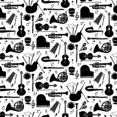 Musical instruments  pattern with vector icons.