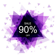 Isolated colorful discount sticker on white background. Abstract geometric triangular banner sales. Vector