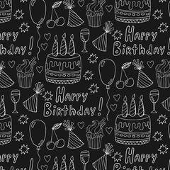 Birthday doodles pattern on black background