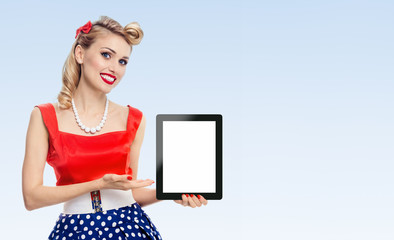 woman, showing blank no-name tablet pc monitor, with copyspace