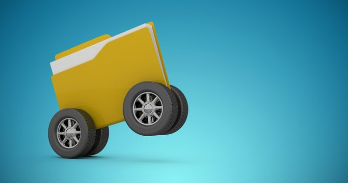 Composite image of illustration of folder with tire