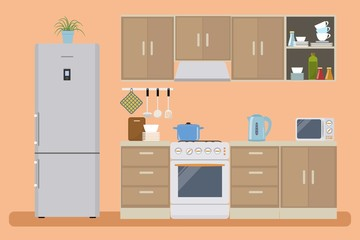 Kitchen in a orange color. There is a kitchen furniture of a beige color, a refrigerator, a microwave and other objects in the picture. Vector flat illustration