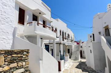 Traditional cycladic whitewashed street, Sifnos, Cyclades, Greec