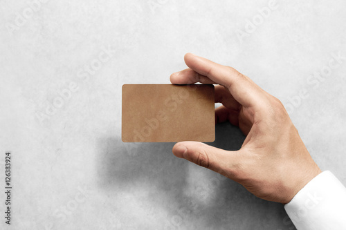 Hand hold blank craft card mockup with rounded corners plain kraft hand hold blank craft card mockup with rounded corners plain kraft call card mock reheart Choice Image