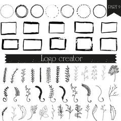 Vintage, hipster handdrawn logo elements with hand drawn circles. Design your own vintage logo. Retro logotype templates.