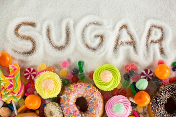 Sugar written on sugar powder