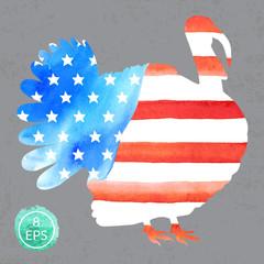Watercolor turkey. Vector.