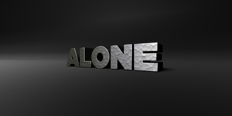 ALONE - hammered metal finish text on black studio - 3D rendered royalty free stock photo. This image can be used for an online website banner ad or a print postcard.