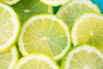 Close-up of sliced lemons