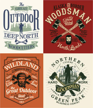 The great outdoor lumberjack and woodsman vector artworks for t shirt, poster, label  and others.
