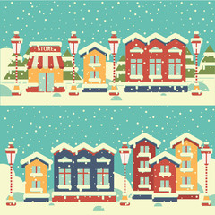 Winter town. Flat. Happy New Year and Merry Christmas.
