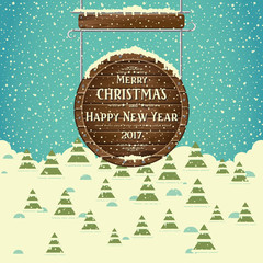 Christmas background with trees, greeting inscription on wooden signboard and snow-covered landscape. Happy New Year. Vector