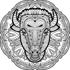 Painted bull on a background of circular pattern. Coloring page