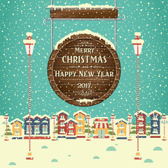 Christmas background with houses and greeting inscription on wooden signboard. New year. Winter town. Vector card