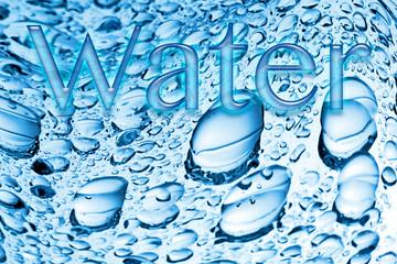 Wassertropfen, blau, Schriftzug, Water, Symbolbild
