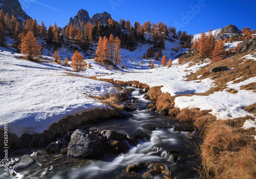 Fotomurales Small stream in the snow covered autumn landscape of the Claree valley, France.
